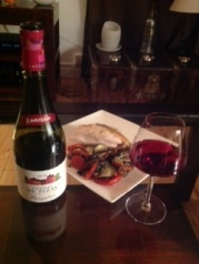 Beaujolais nouveau and chicken with veg tian